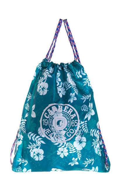 TEAL FLORAL DRAWSTRING BAG