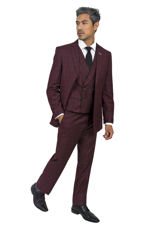 DAHL BURGUNDY TAILORED FIT 3 PC SUIT