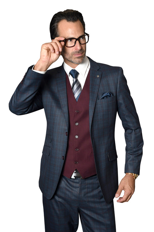 CEDRIC CHARCOAL MODERN FIT 3 PC SUIT