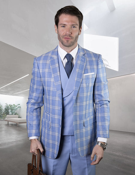 DUSTIN BLUE TAILORED FIT 3 PC SUIT