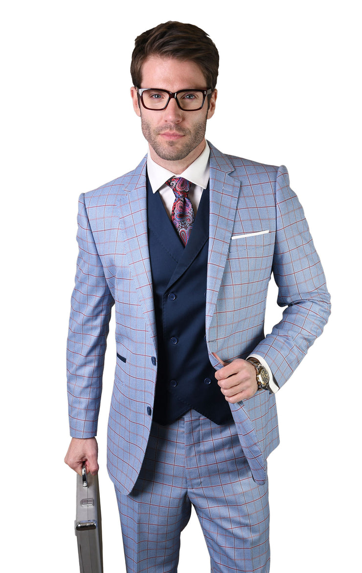 BRADFORD BLUE TAILORED FIT 3 PC SUIT