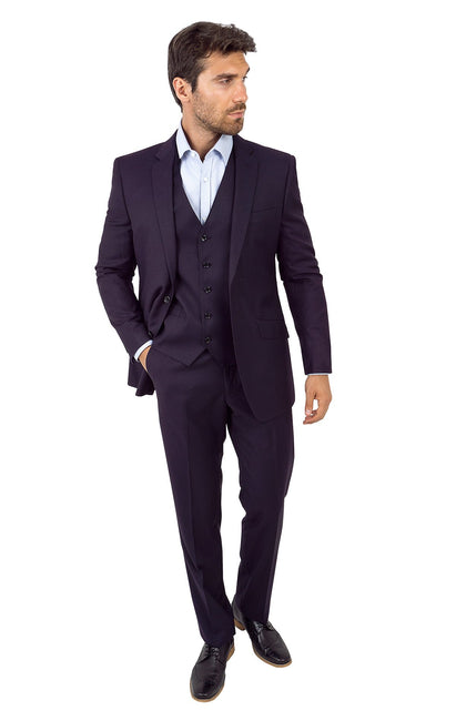 WAGNER EGGPLANT TAILORED FIT 3 PC SUIT