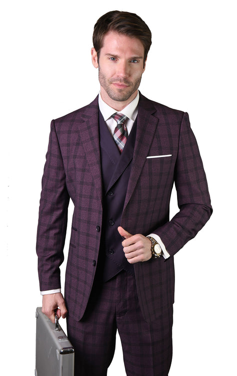 EDMUND EGGPLANT TAILORED FIT 3 PC SUIT