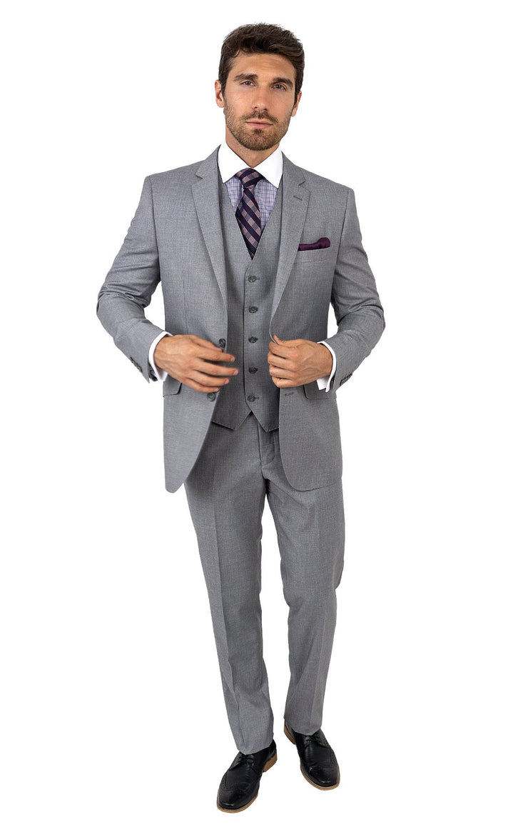 BENSON GREY TAILORED FIT 3 PC SUIT