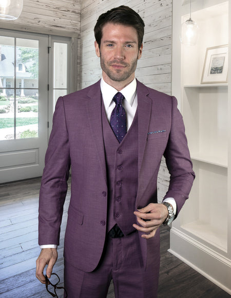 BANNER MAUVE SLIM FIT 3 PC SUIT