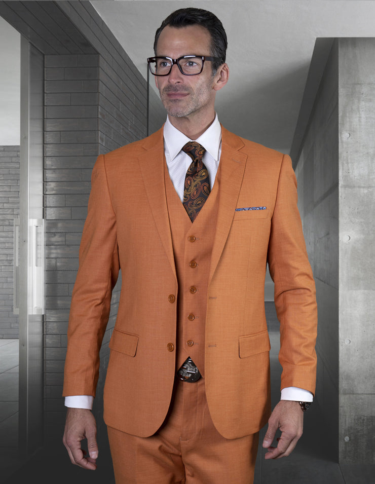 REX RUST SLIM FIT 3 PC SUIT