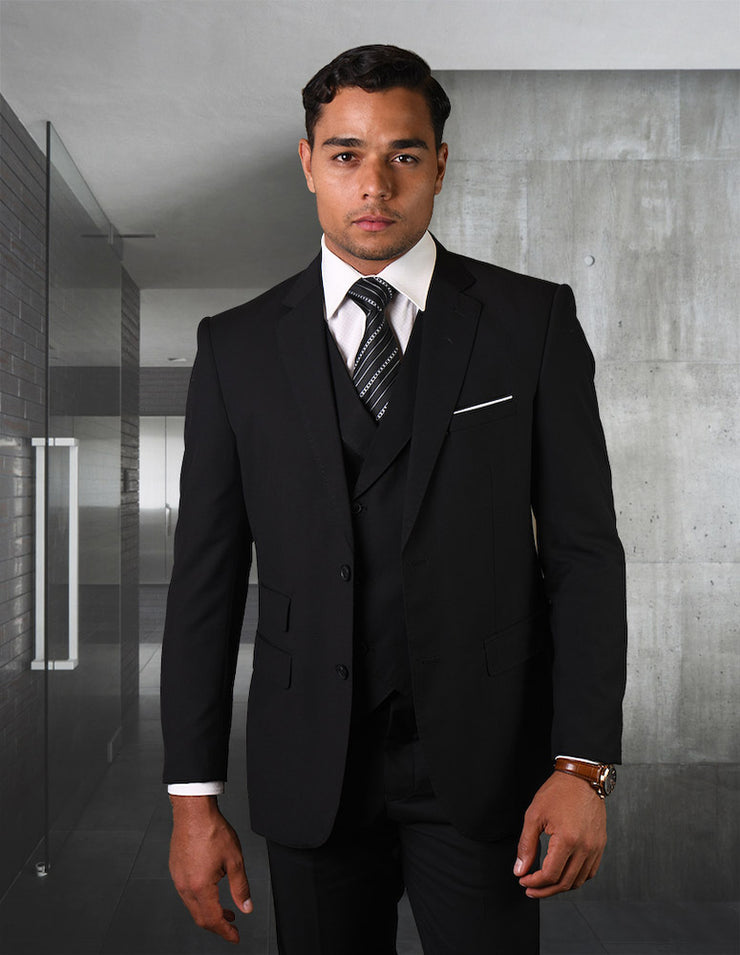 CRISTOFF BLACK TAILORED FIT 3 PC SUIT