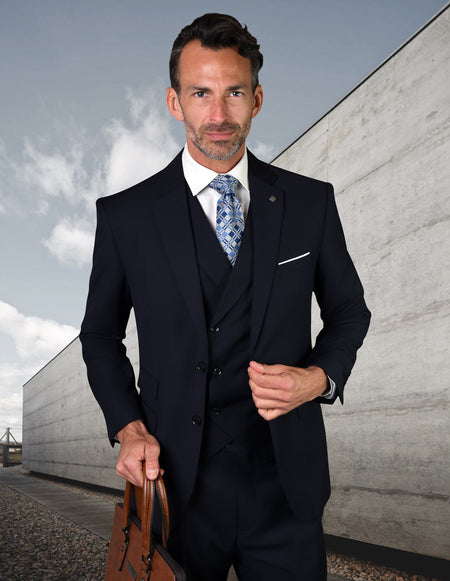 WILLEM NAVY TAILORED FIT 3 PC SUIT