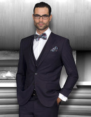 EDWIN EGGPLANT SLIM FIT 3 PC SUIT