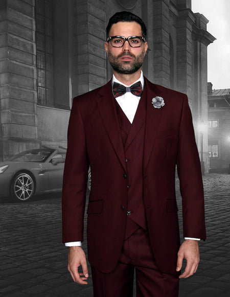 TRENTON BURGUNDY TRADITIONAL FIT 3 PC SUIT