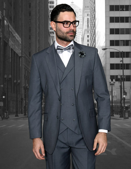REX CHARCOAL TRADITIONAL FIT 3 PC SUIT