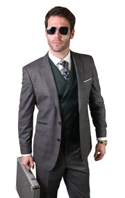 CECIL CHARCOAL TAILORED FIT 3 PC SUIT