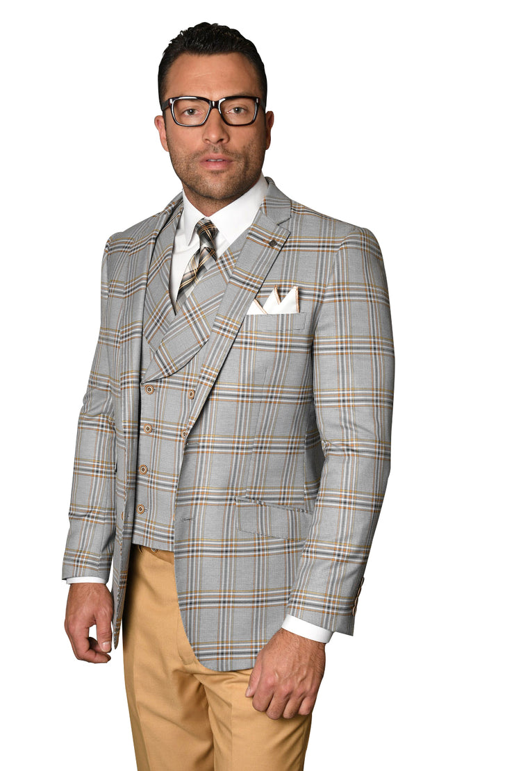 GERARD CAMEL MODERN FIT 3 PC SUIT
