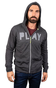 PLAY GREY MELANGE FULL ZIP HOODIE
