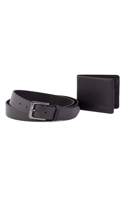 BLACK LEATHER WALLET & BELT