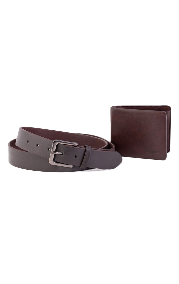 DARK BROWN LEATHER WALLET & BELT
