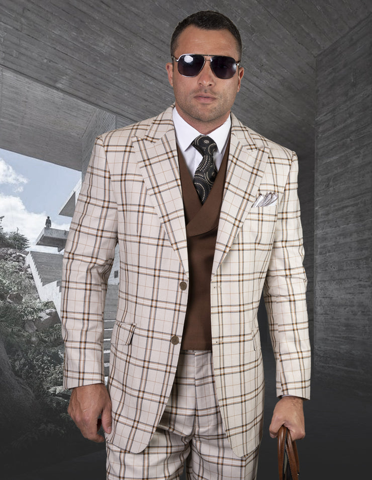 LIVINGSTON TAN REGULAR FIT 3 PC SUIT