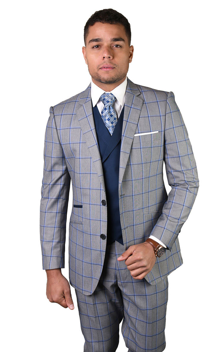 DOMINIC GREY TAILORED FIT 3 PC SUIT