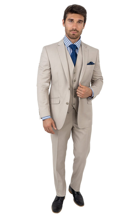 WHITMORE SAND TAILORED FIT 3 PC SUIT