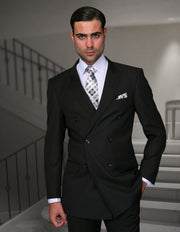 MARX BLACK TAILORED FIT DOUBLE BREASTED SUIT