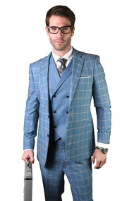 DOYLE BLUE TAILORED FIT 3 PC SUIT