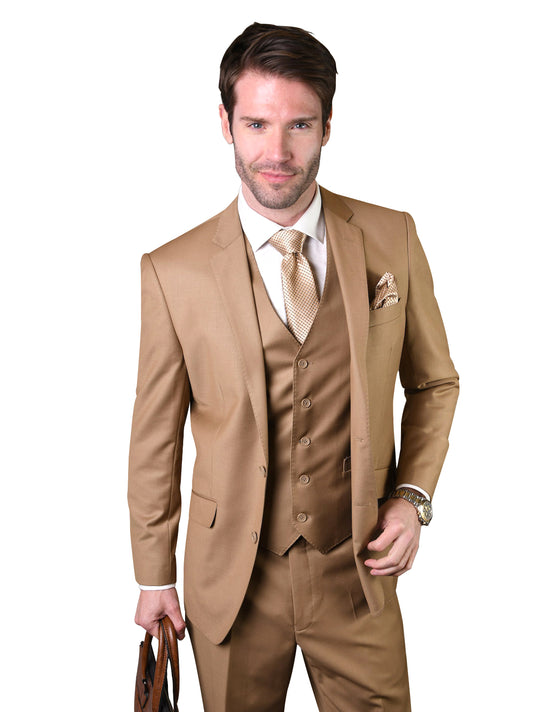 JASPER CARAMEL TAILORED FIT 3 PC SUIT