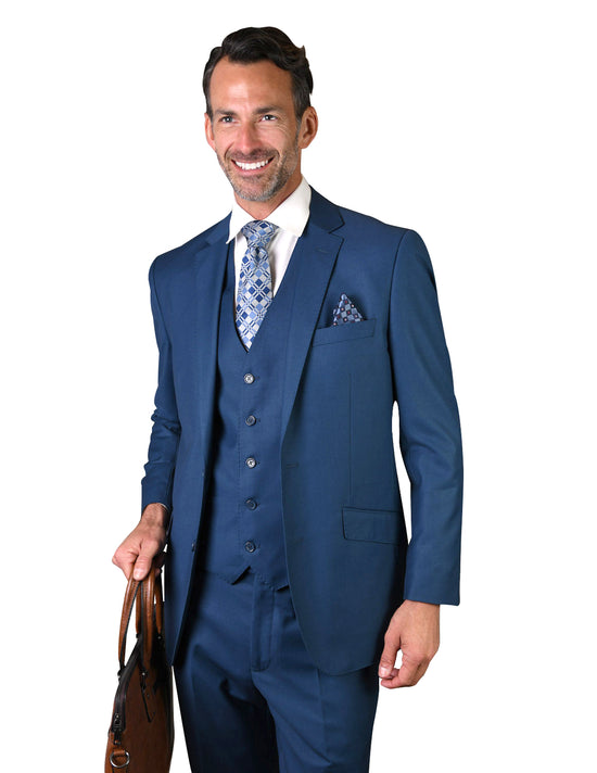 ROSS FRENCH BLUE TAILORED FIT 3 PC SUIT