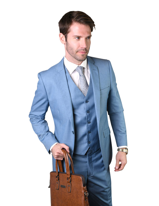 LAWRENCE STEEL BLUE TAILORED FIT 3 PC SUIT