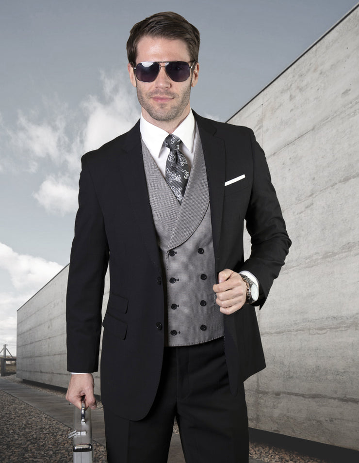 BRODERICK BLACK TAILORED FIT 3 PC SUIT
