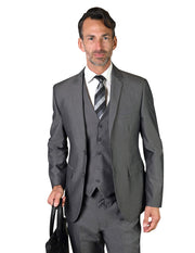 DENNIS GREY SLIM FIT 3 PC SUIT