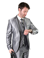 MORRIS GREY SLIM FIT 3 PC SUIT