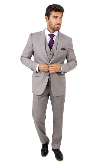 LAWTON TAN TAILORED FIT 3 PC SUIT