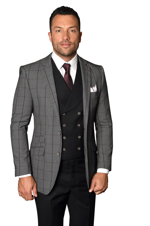 ROMAN BURGUNDY MODERN FIT 3 PC SUIT