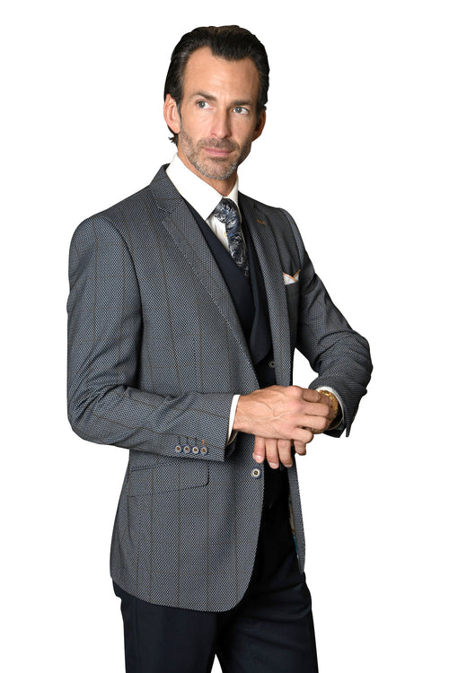 JAMISON INDIGO MODERN FIT 3 PC SUIT