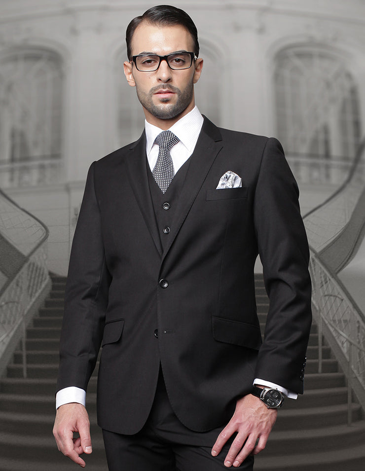DONNER BLACK REGULAR FIT 3 PC SUIT