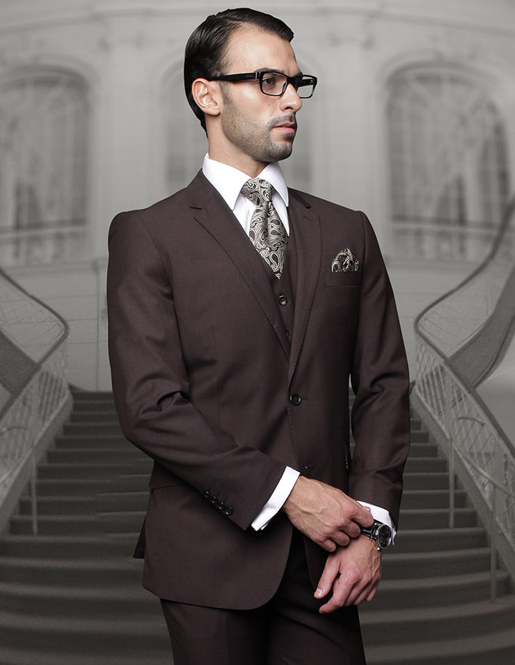 BIG & TALL BROWN REGULAR FIT 3 PC SUIT
