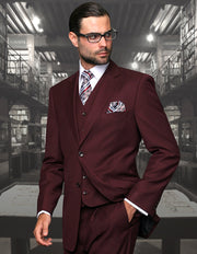 OLLIE BURGUNDY REGULAR FIT 3 PC SUIT