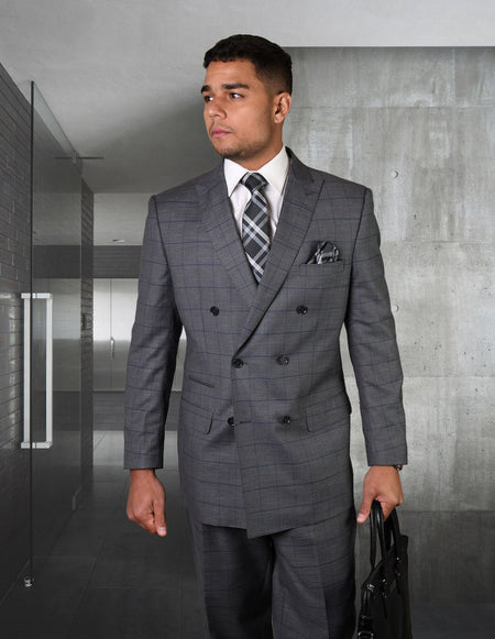 JARVIS CHARCOAL REGULAR FIT DOUBLE BREASTED SUIT