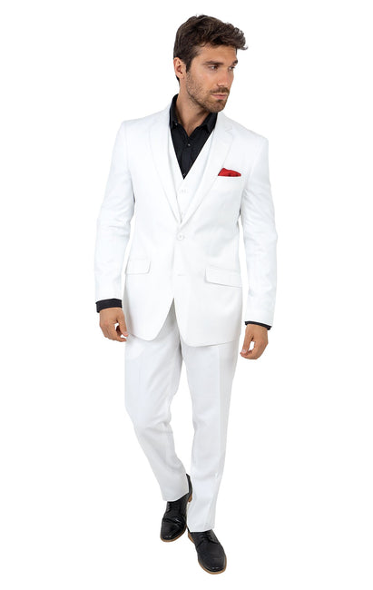 PARRINGTON WHITE TAILORED FIT 3 PC SUIT