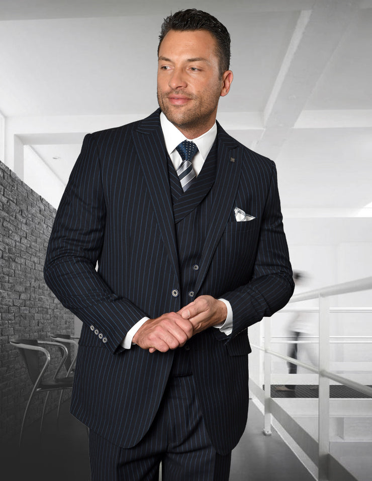 BISHOP NAVY REGULAR FIT 3 PC SUIT