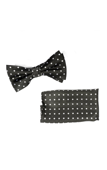 YURI BLACK DOT BOWTIE & POCKET SQUARE