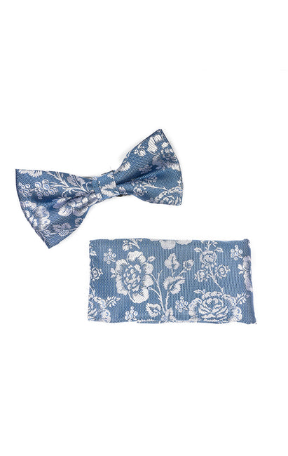 CHRIS BLUE FLORAL BOWTIE & POCKET SQUARE