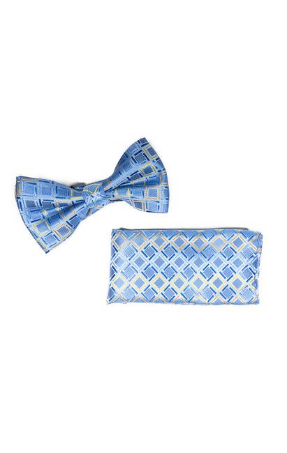 HAN BLUE GEO BOWTIE & POCKET SQUARE