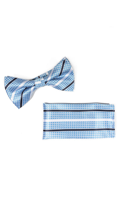 BENSON BLUE STRIPE BOWTIE & POCKET SQUARE