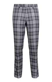 PAUL GREY PLAID SLIM FIT PANT