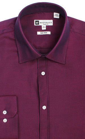 SLIM FIT NON IRON MAGENTA BUTTON CUFF DRESS SHIRT