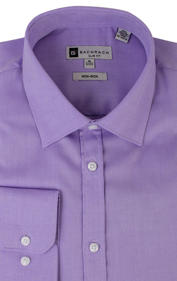 OXFORD SLIM FIT NON IRON LAVENDER BUTTON CUFF DRESS SHIRT