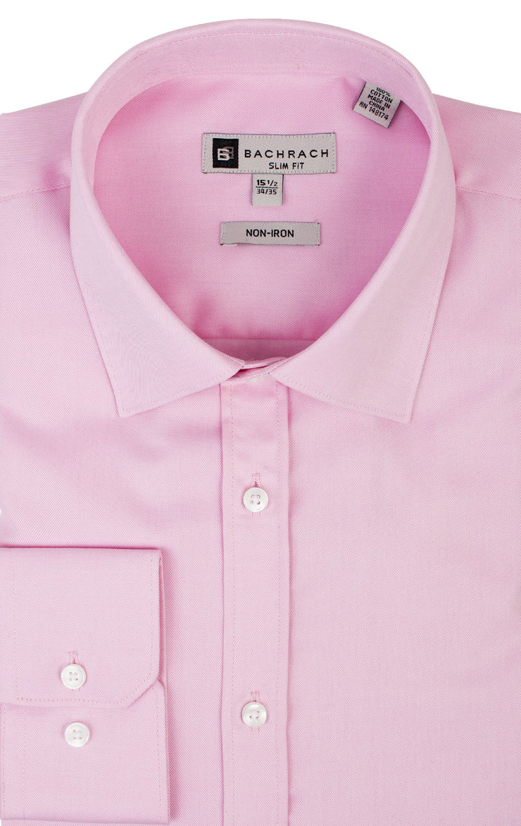 SLIM FIT NON IRON PINK BUTTON CUFF DRESS SHIRT