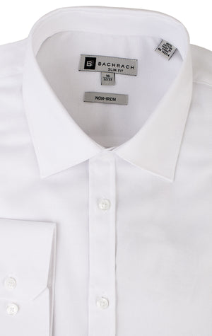 OXFORD SLIM FIT NON IRON WHITE BUTTON CUFF DRESS SHIRT