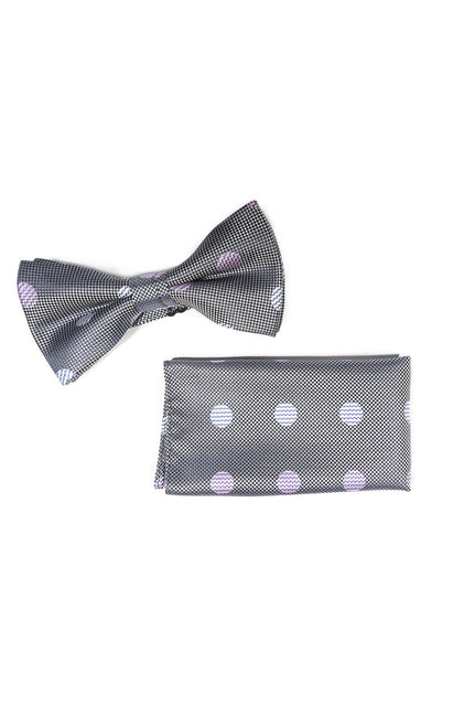 STEVENS GREY DOT BOWTIE & POCKET SQUARE